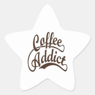 Coffee Addict in Brown Star Sticker