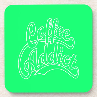 Coffee Addict in White Beverage Coasters