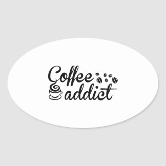 Coffee Addict Oval Sticker
