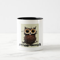 Coffee addict owl Two-Tone coffee mug