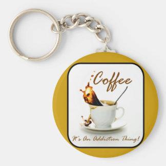 Coffee Addiction Basic Round Button Keychain