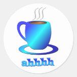 Coffee ahhhh round stickers