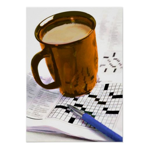 Coffee and a Crossword Poster