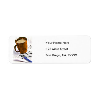 Coffee and a Crossword Puzzle Return Address Label