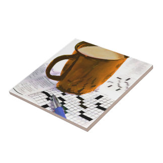 Coffee and a Crossword Puzzle Tile