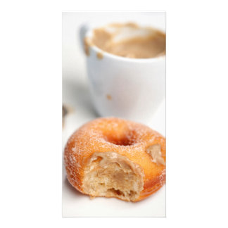 Coffee and a donut for breakfast. card
