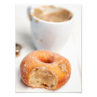 Coffee and a donut for breakfast. photo print
