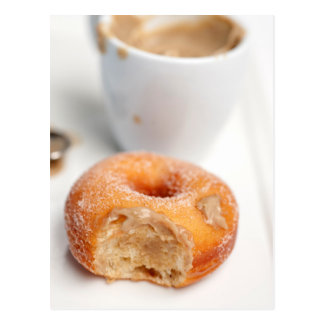 Coffee and a donut for breakfast. post cards