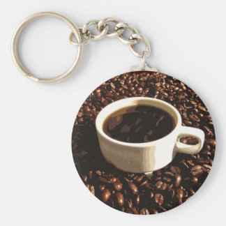 Coffee and Beans Basic Round Button Keychain