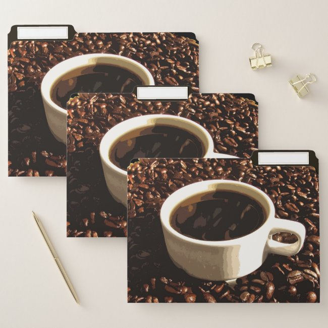 Coffee and Beans File Folder Set