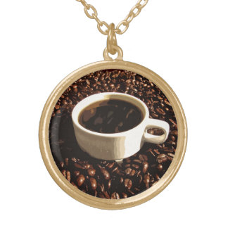 Coffee and Beans Round Pendant Necklace
