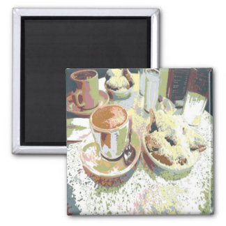 Coffee and Bignets New Orleans Cafe Aulait Donuts 2 Inch Square Magnet