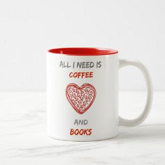 Coffee and books Two-Tone coffee mug