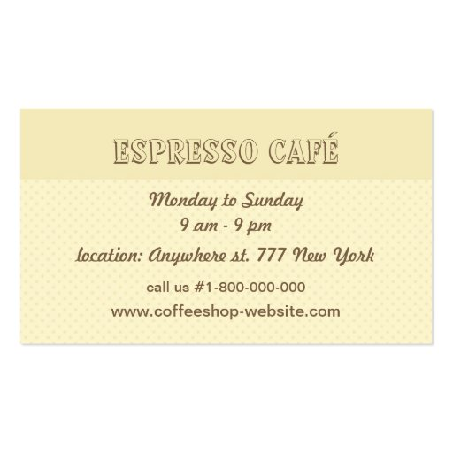 Coffee and Cakes Cafe Business Card (back side)