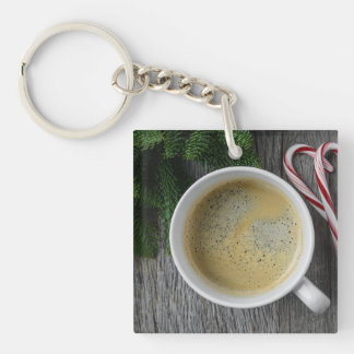 Coffee and Candy Cane for the Holidays Keychain