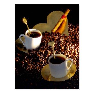 Coffee Themed Coffee and Cigar Postcard