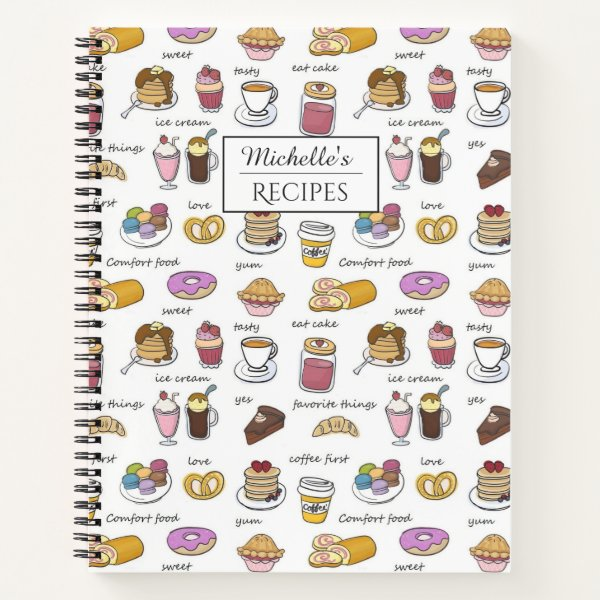 Coffee and Comfort Food Personalised Recipes Notebook