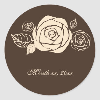 Coffee and Cream Roses Coordinating Gifts Classic Round Sticker