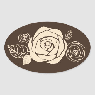 Coffee and Cream Roses Coordinating Gifts Oval Sticker