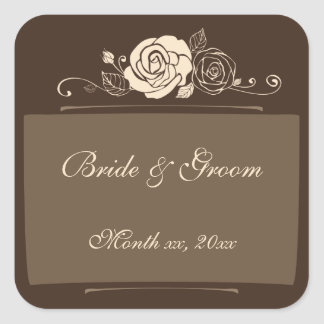 Coffee and Cream Roses Coordinating Gifts Square Sticker