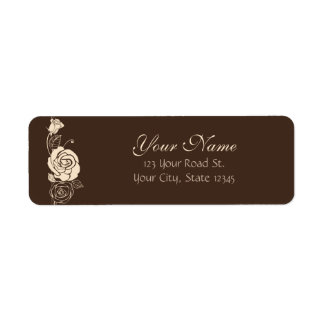 Coffee and Cream Roses Return Address Label