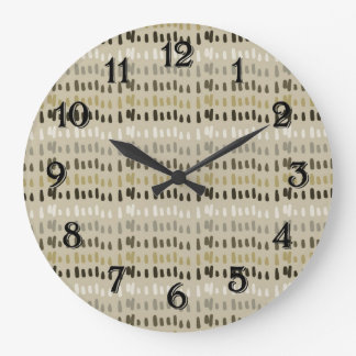 Coffee and Cream Stripes Abstract Large Clock