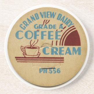 Coffee and Cream Vintage Milk Top Design Drink Coaster