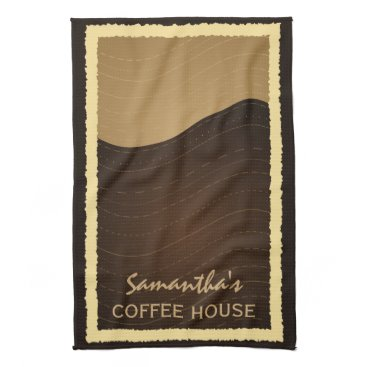 Coffee Themed Coffee and Cream Waves Vertical Kitchen Tea Towel