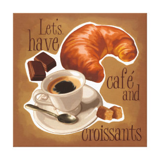 Coffee and croissants canvas print