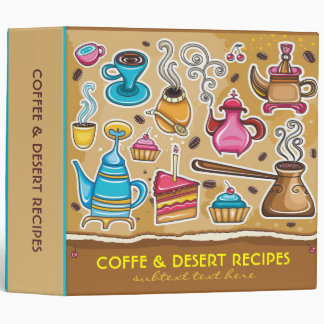 Coffee And Desert Illustrations-Binder Recipes 3 Ring Binder