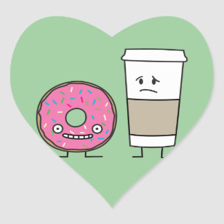 Coffee and Donut Heart Sticker
