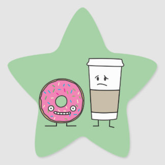 Coffee and Donut Star Sticker