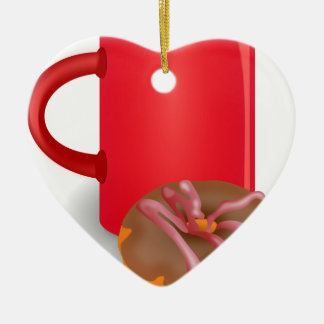 Coffee And Doughnut Double-Sided Heart Ceramic Christmas Ornament