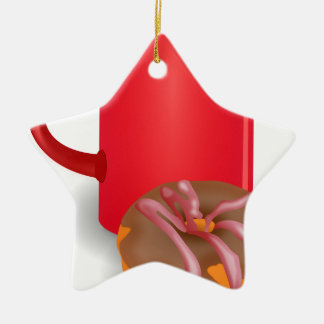 Coffee And Doughnut Double-Sided Star Ceramic Christmas Ornament