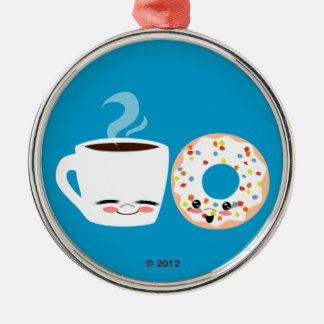 Coffee and Doughnut Pals Round Metal Christmas Ornament