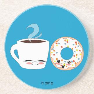 Coffee and Doughnut Pals Sandstone Coaster