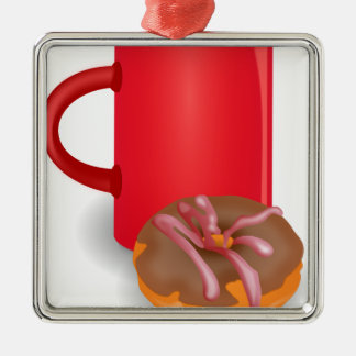 Coffee And Doughnut Square Metal Christmas Ornament