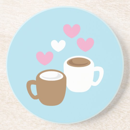 Coffee and hot chocolate cute love hearts drink coaster