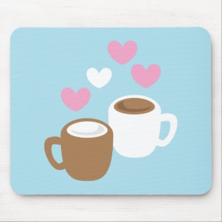 Coffee and hot chocolate cute love hearts mouse pads