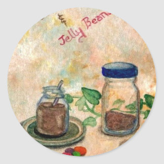 Coffee And Jelly Beans - Coffee Folk Art Classic Round Sticker