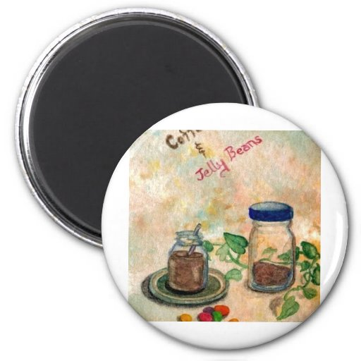 Coffee And Jelly Beans - Coffee Folk Art Fridge Magnets