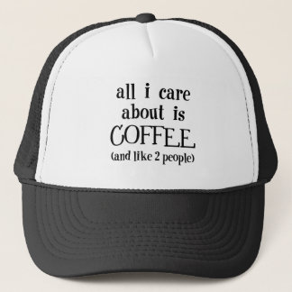 Coffee and like 2 people trucker hat