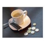 Coffee and money on a table postcard