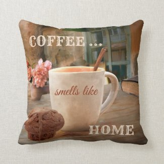 Coffee and Muffin Original Art Pillow