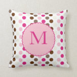Coffee and Pink Colorful Polka Dots Pillow