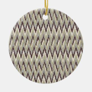 Coffee and Sage iKat ZigZag Pattern Ceramic Ornament