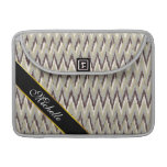 Coffee and Sage iKat ZigZag Pattern Sleeve For MacBooks