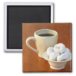 Coffee and Sugar Donuts 2 Inch Square Magnet
