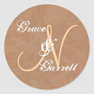 Coffee Themed Coffee and Tan Monogram N or Any Initial V6 Classic Round Sticker