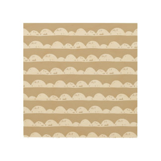 Coffee and White Clouds Pattern Wood Print